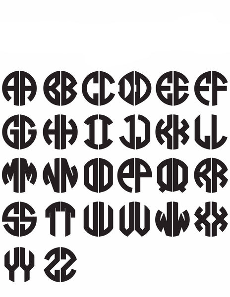 Moon and Lola - Block 2 Letter Monogram Font Sheet