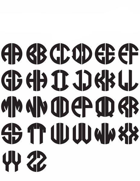 I found this at #moonandlola! - Block Two Letter Monogram Font Sheet