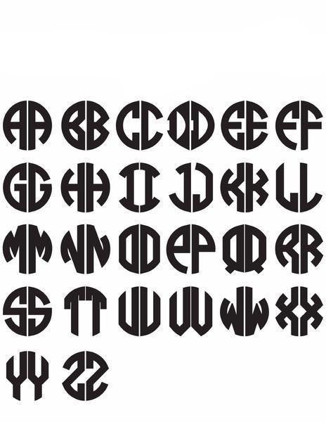 Moon and Lola - Block Two Letter Monogram Font Sheet