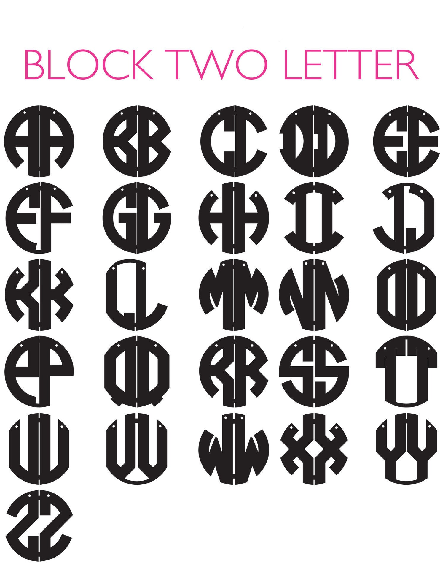 I found this at #moonandlola! - Block 2 Letter Monogram Font Sheet