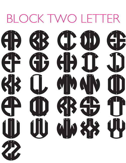 Moon and Lola - Two-Letter Block Monograms