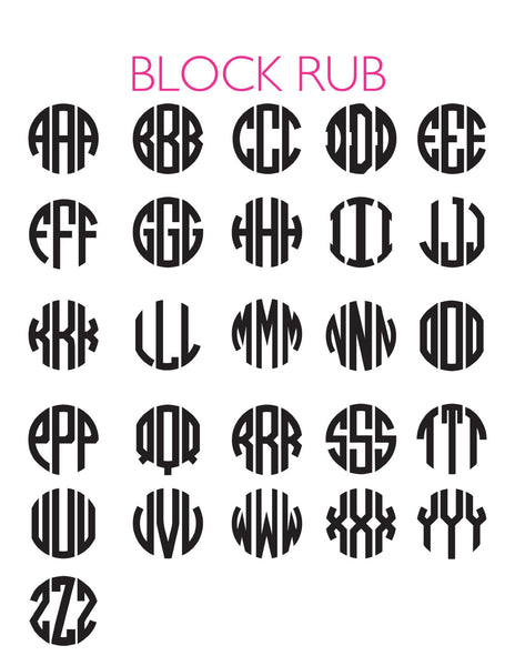 Moon and Lola - Block Monogram Font Sheet