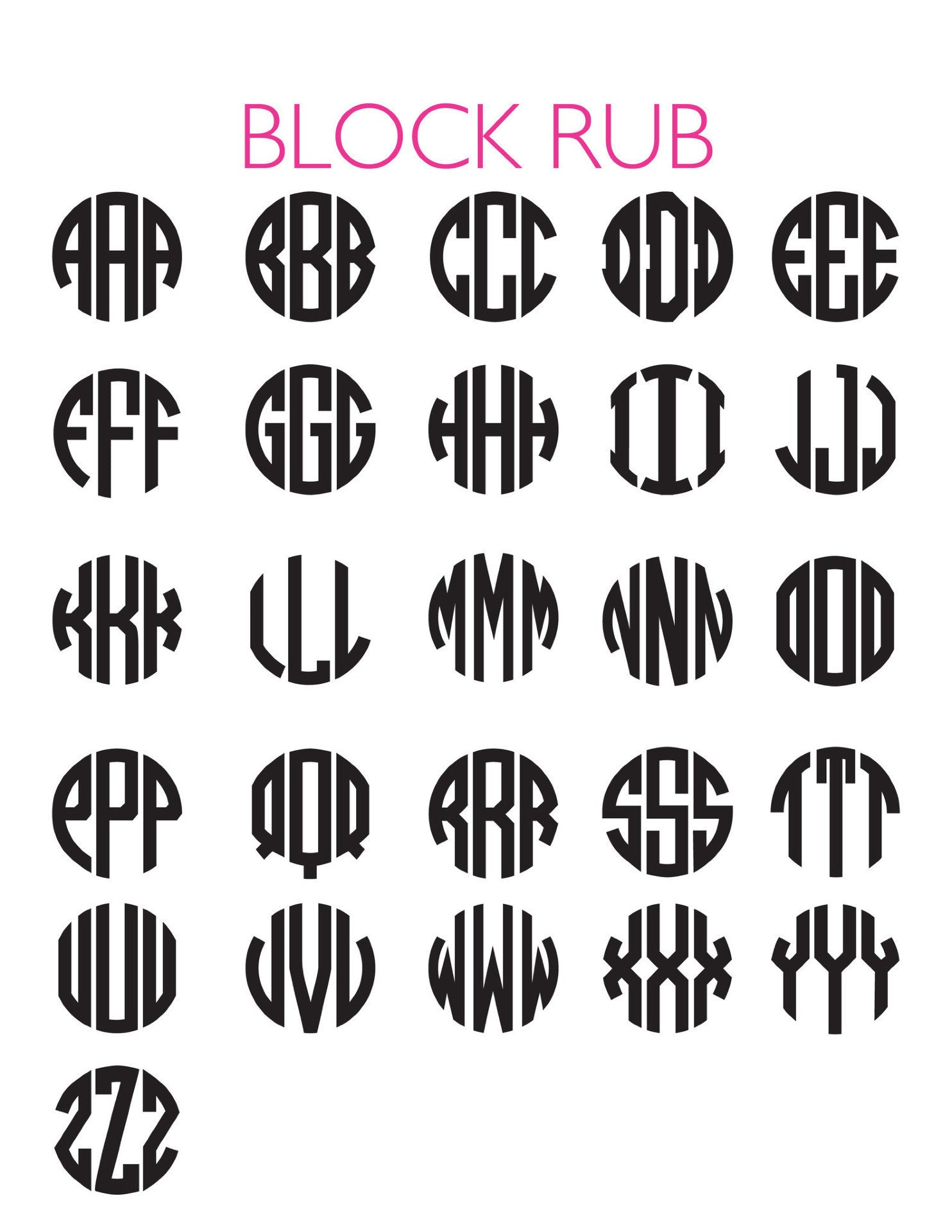 I found this at #moonandlola! - 3 Letter Block Font Chart