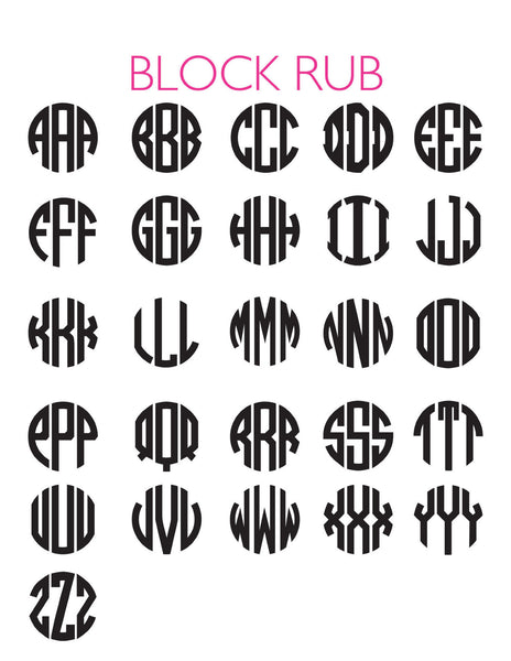 Moon and Lola - 3 Letter Block Font Chart