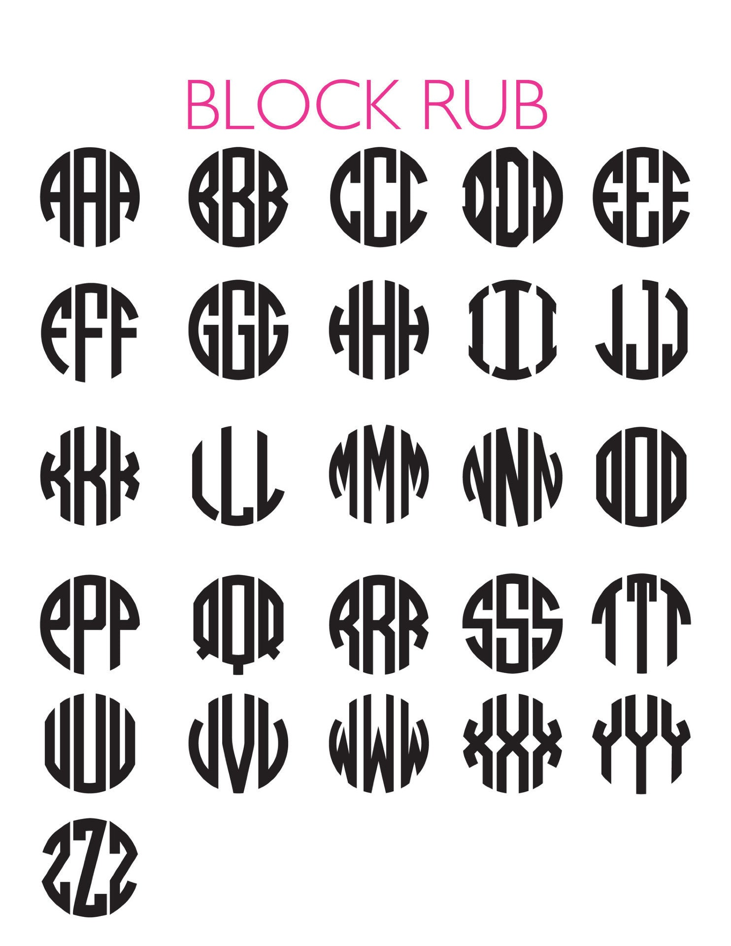 I found this at #moonandlola! - Block Monogram Font Chart