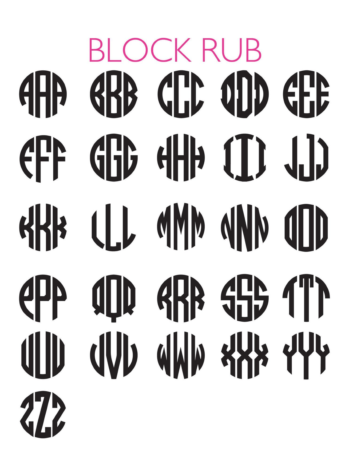 Moon and Lola - Block Letter Monogram Chart
