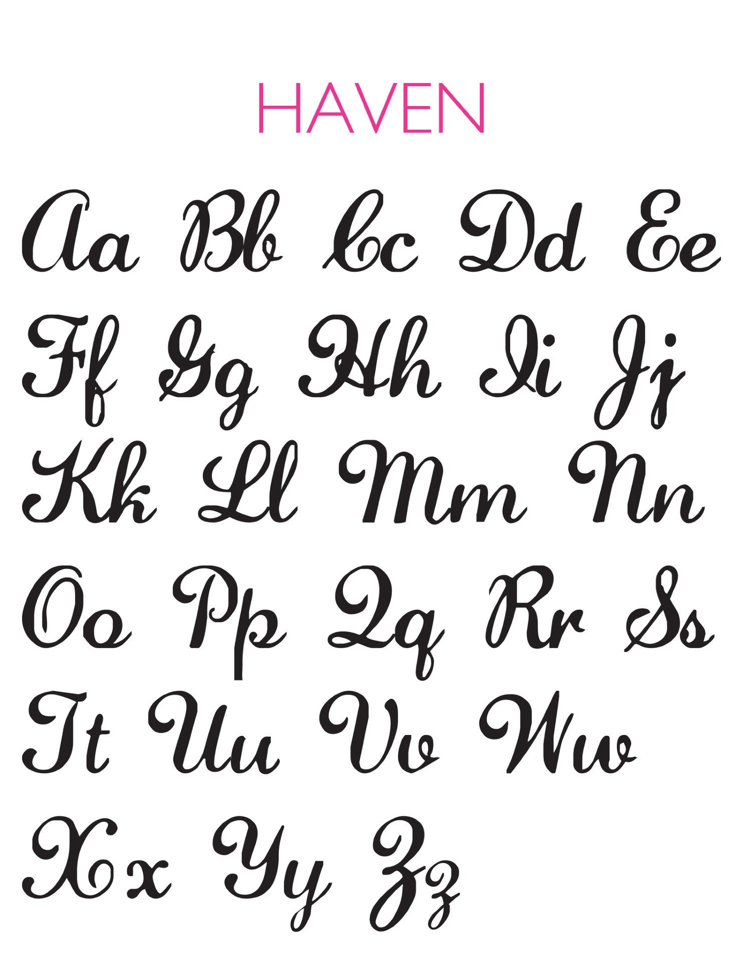 I found this at #moonandlola! - Haven Script Font Sheet