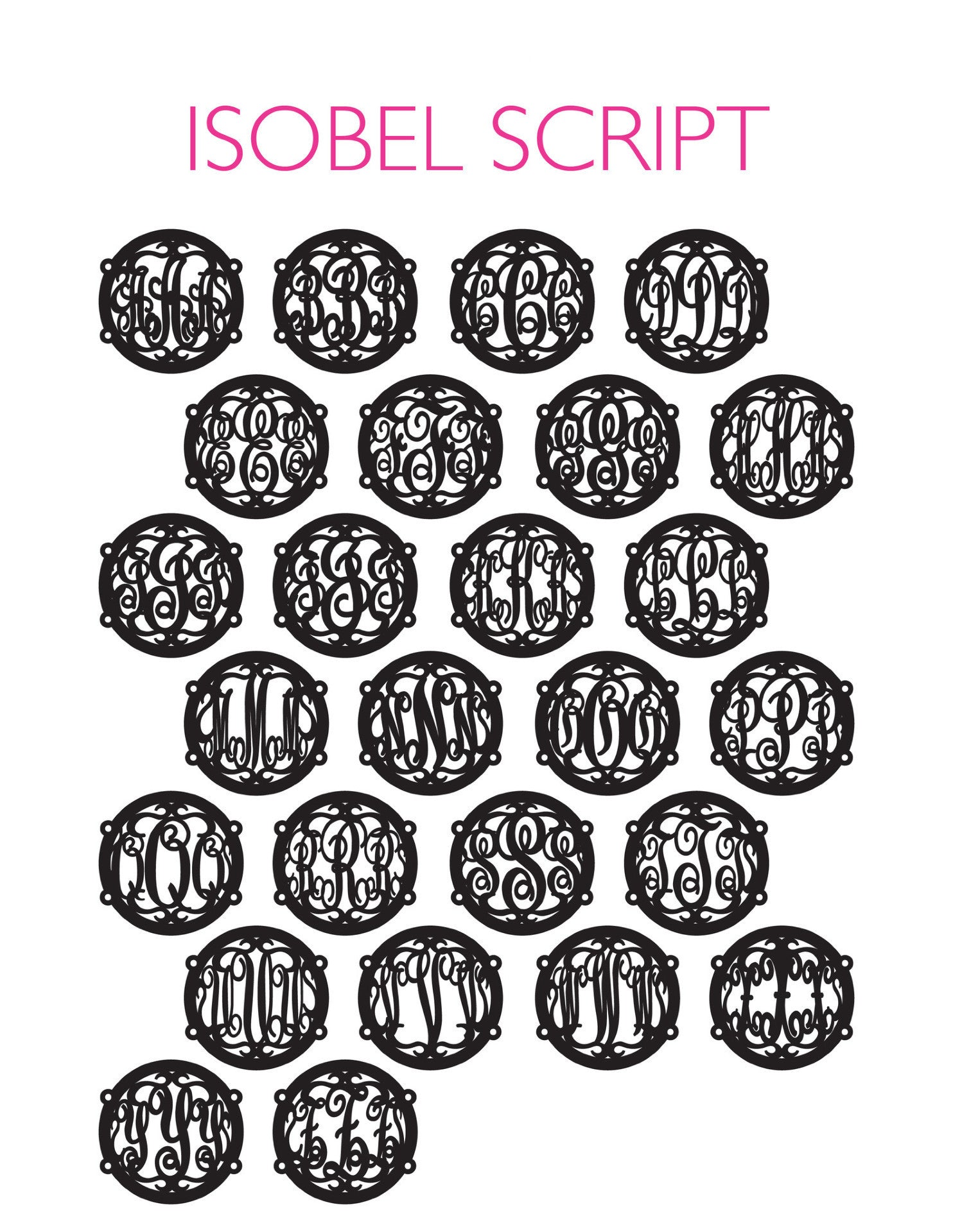 I found this at #moonandlola! - Isobel Script Chart