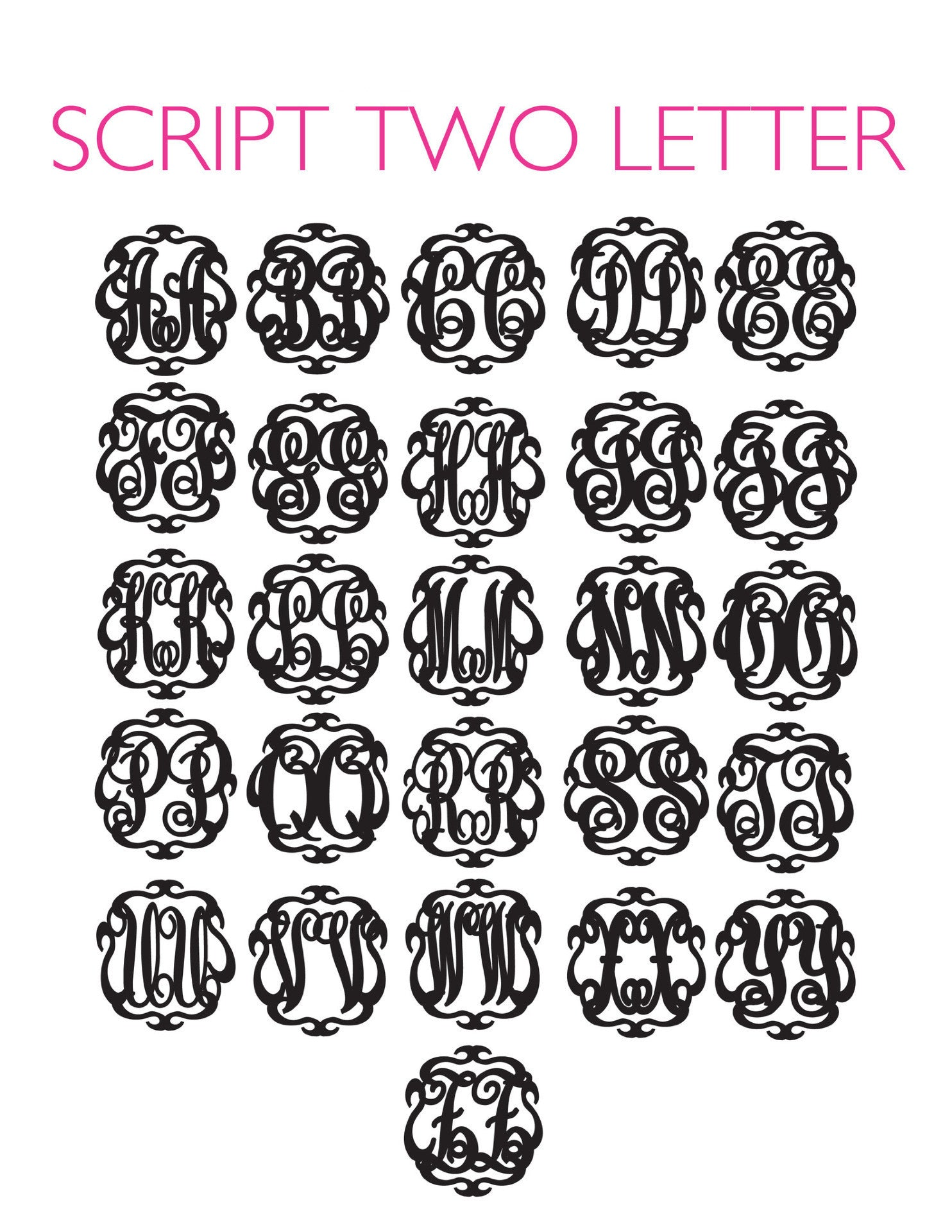 I found this at #moonandlola! - Script 2 Letter Monogram Font Sheet