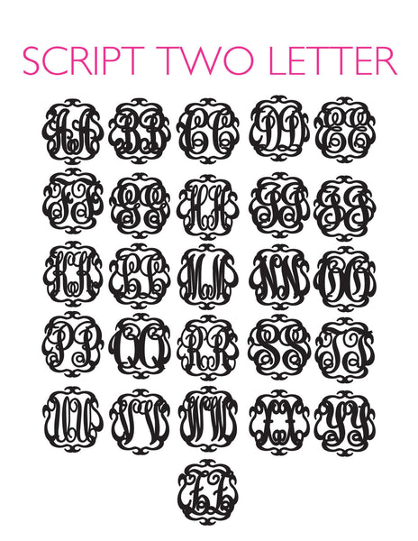 Moon and Lola - Script 2 Letter Monogram Font Sheet
