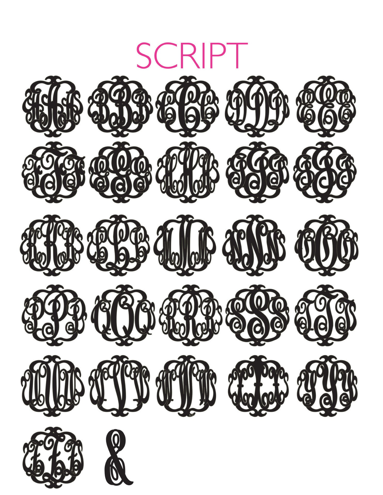 I found this at #moonandlola! - Script Monogram Font Sheet
