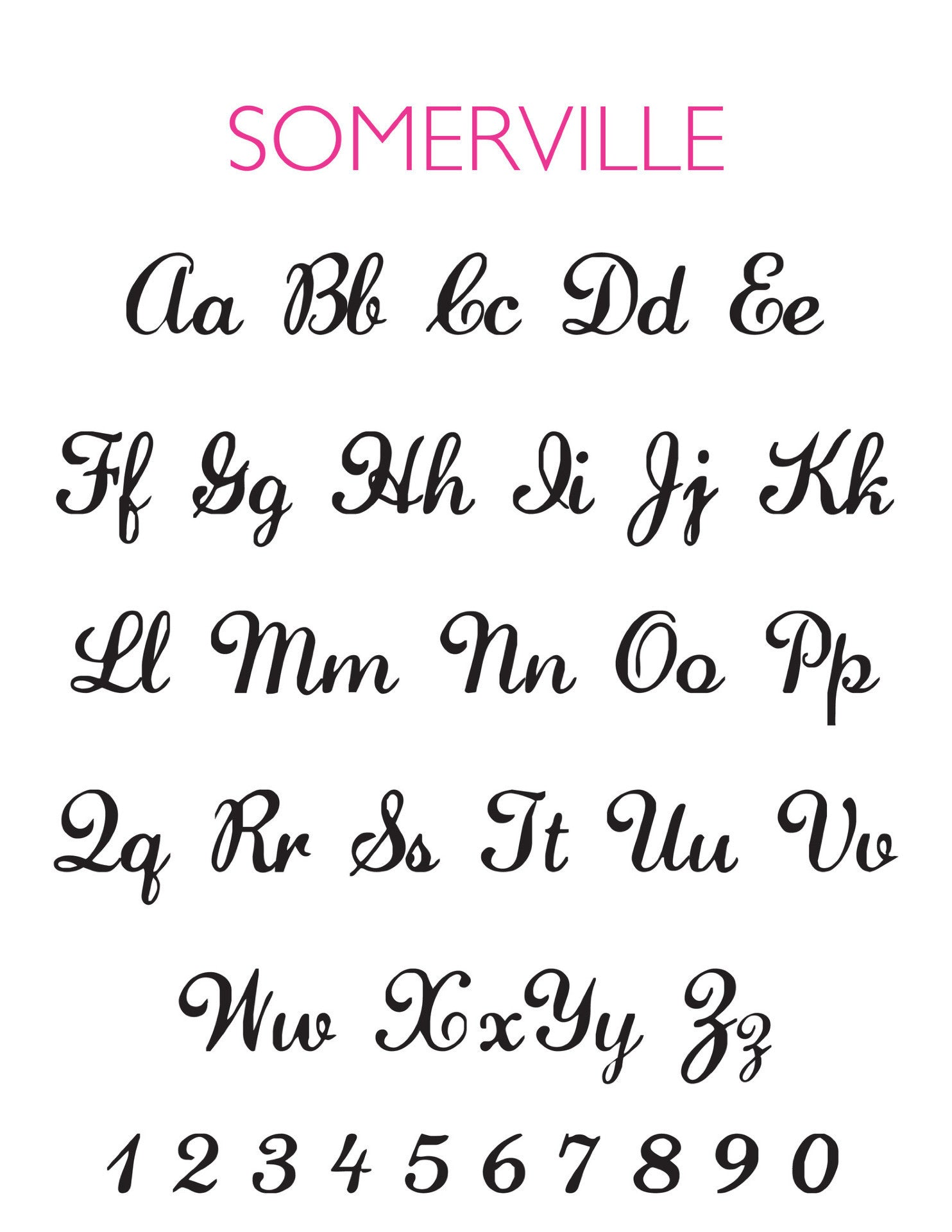 I found this at #moonandlola! - Somerville Font Chart