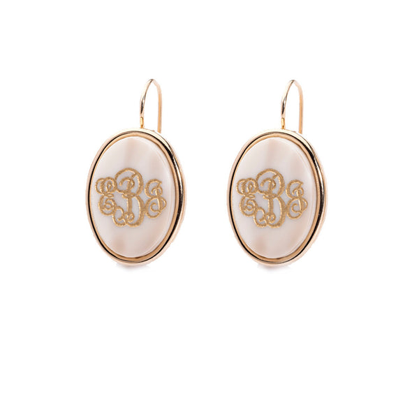 Moon and Lola - -Vineyard Oval Monogram Dangle Earrings