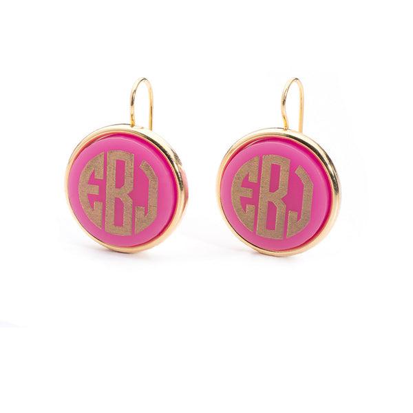 Moon and Lola - Vineyard Round Monogram Dangle Earrings