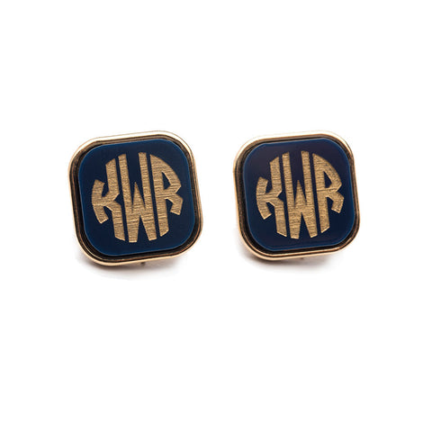 Vineyard Cuff Links Round Stacked Monogram
