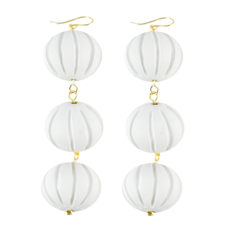 I found this at #moonandlola! - Europa Carved White Wood Earrings