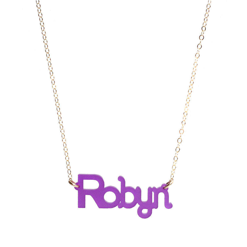 Moon and Lola - Zebra Nameplate Necklace Violet