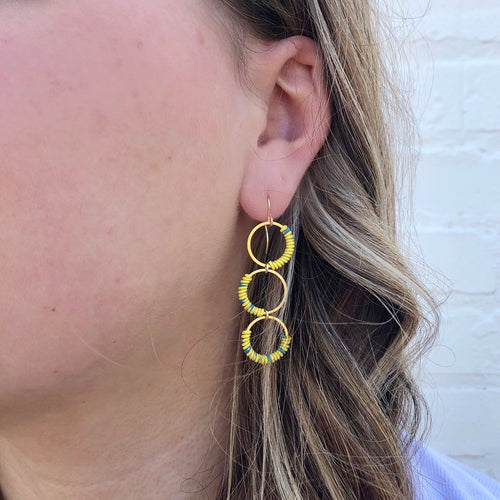 Moon and Lola - Zia Earrings in Yellow/Blue