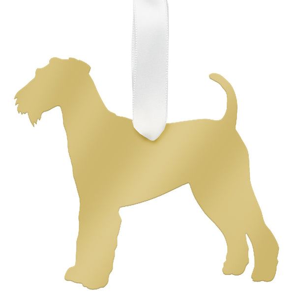 Moon and Lola - Airedale Terrier Ornament Mirrored Gold