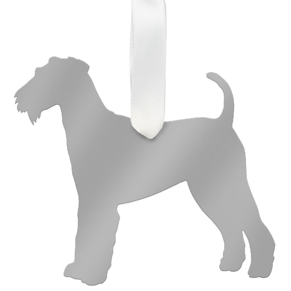 Moon and Lola - Airedale Terrier Ornament Mirrored Silver