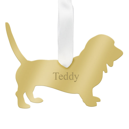I found this at #moonandlola! - Personalized Basset Hound Ornament Mirrored Gold