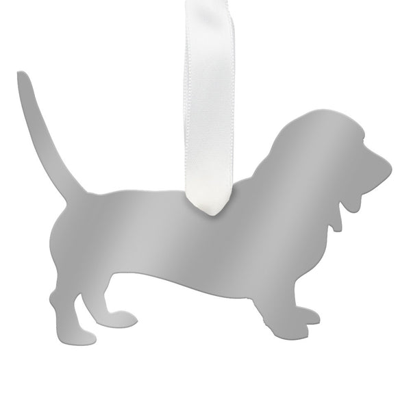 Moon and Lola - Basset Hound Ornament Mirrored Silver