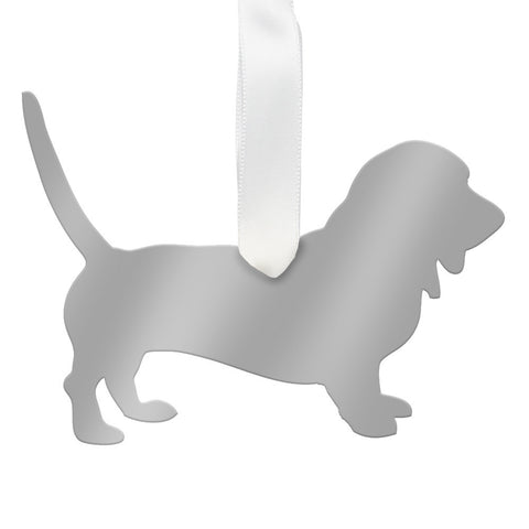 Moon and Lola - Basset Hound Ornament Mirrored Gold