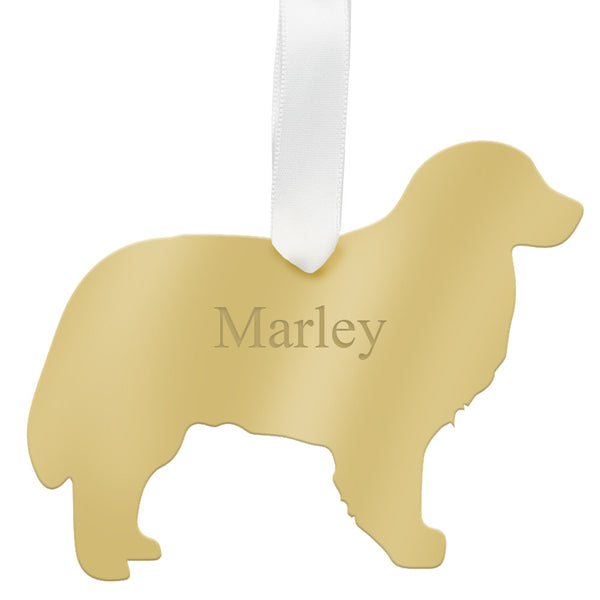 Moon and Lola - Personalized Bernese Mountain Dog Ornament Mirrored Gold