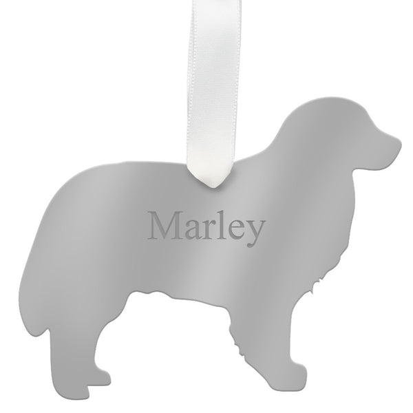 Moon and Lola - Personalized Bernese Mountain Dog Ornament Mirrored Silver