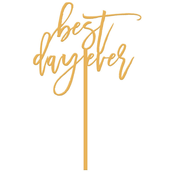 Moon and Lola - Best Day Ever Cake Topper in Antique Gold