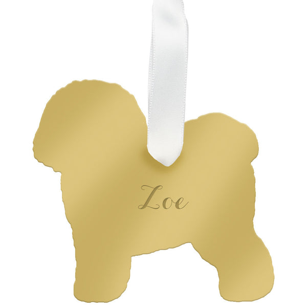 I found this at #moonandlola! - Personalized Bichon Frise Ornament Mirrored Gold