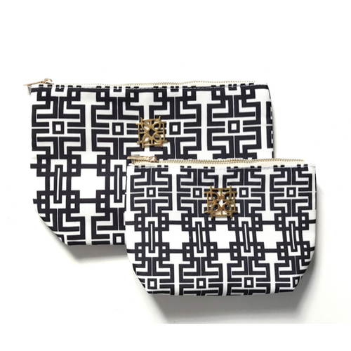Moon and Lola - Blush Label Cosmetic Bag in Black Aztec Print