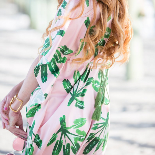 Moon and Lola - Blush Label Caftan Dress in Little Palms Print detail of back tassel ties