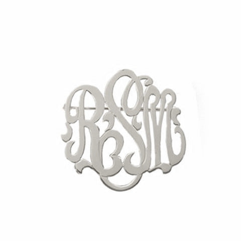 Sterling Silver Monogram Brooch Script Font - #moonandlola