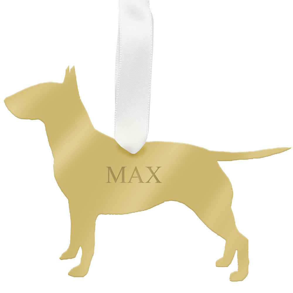 I found this at #moonandlola! - Personalized Bull Terrier Ornament Mirrored Gold