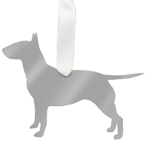 I found this at #moonandlola! - Bull Terrier Ornament Mirrored Silver