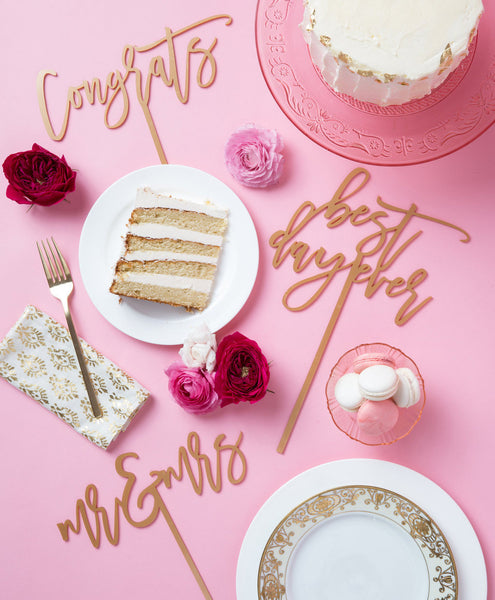 Moon and Lola - Congrats Cake Topper Styled Antique Gold