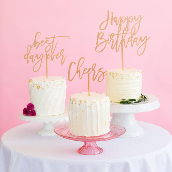 Moon and Lola - Cheers Cake Topper Antique Gold
