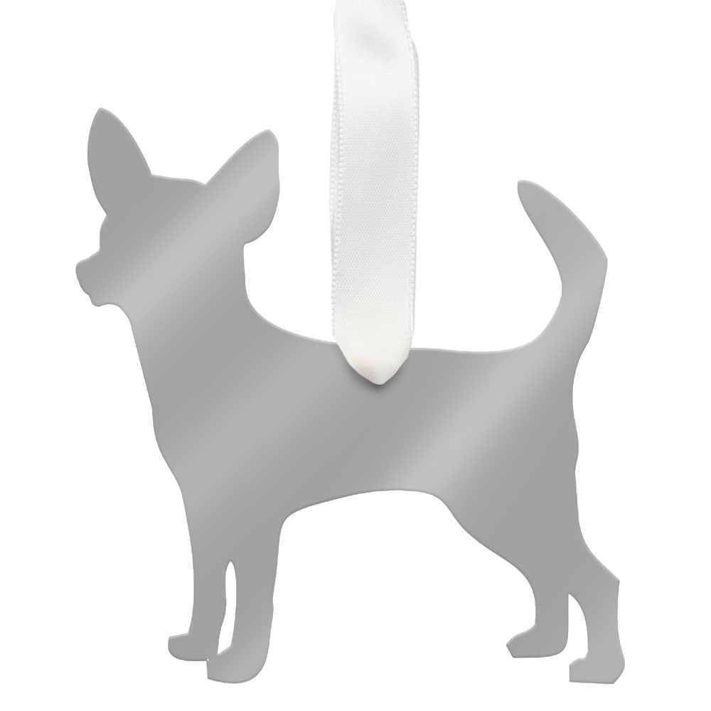 I found this at #moonandlola! - Chihuahua Ornament Mirrored Silver
