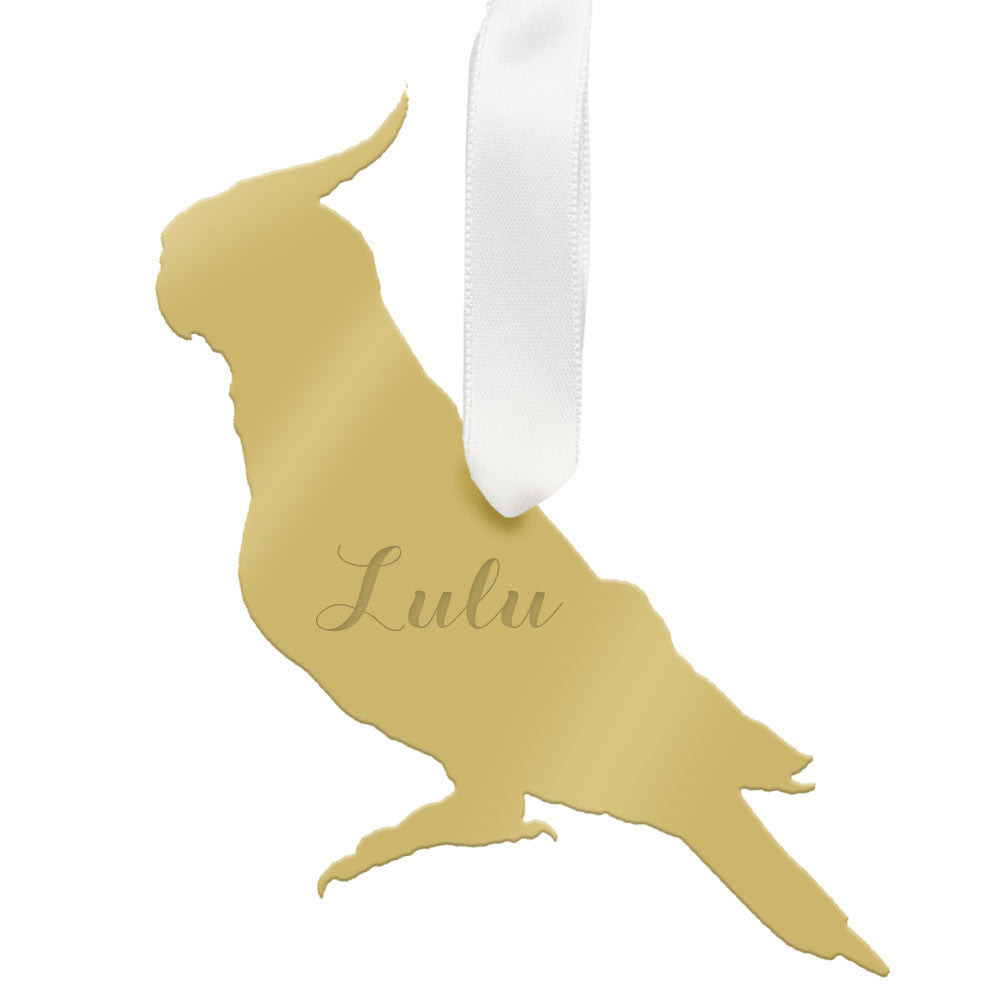 I found this at #moonandlola! - Personalized Cockatiel Ornament Mirrored Gold