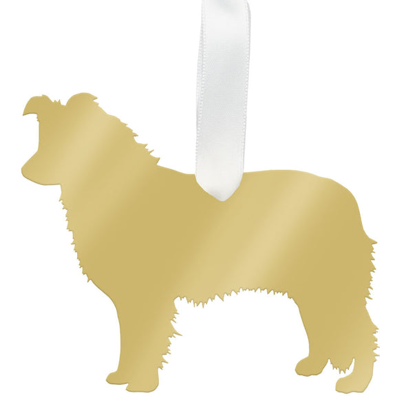 I found this at #moonandlola! - Australian Shepherd Ornament Mirrored Gold