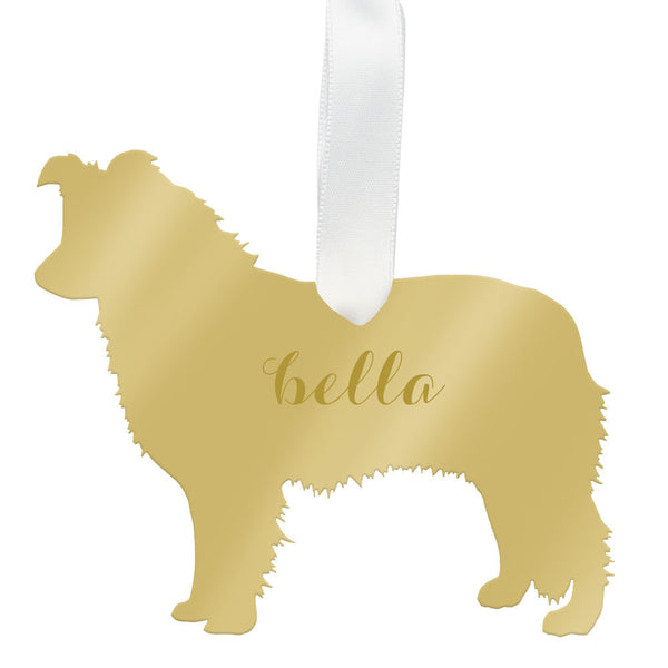 Moon and Lola - Personalized Border Collie Ornament Mirrored Gold