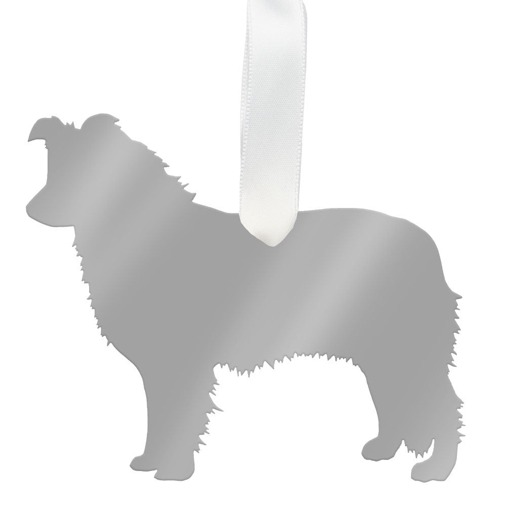 I found this at #moonandlola! - Australian Shepherd Ornament Mirrored Silver