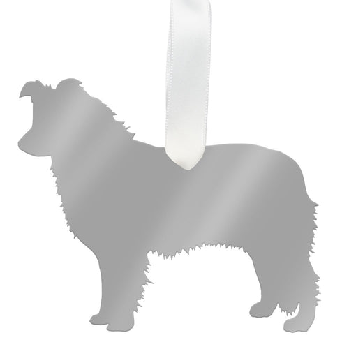I found this at #moonandlola! - Border Collie Ornament Mirrored Silver
