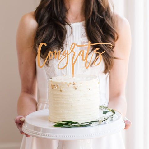 I found this at #moonandlola! - Congrats Cake Topper in Antique Gold