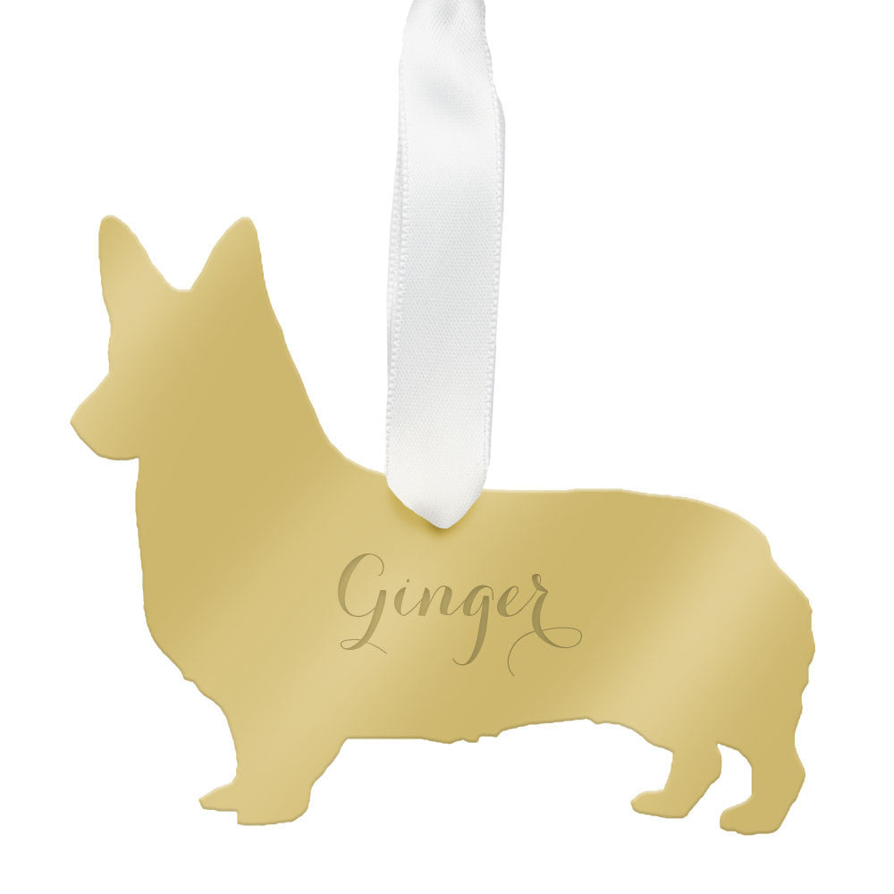 I found this at #moonandlola! - Personalized Corgi Ornament Mirrored Gold