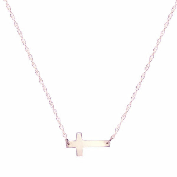 Rose Gold Metal Cross Necklace - #moonandlola
