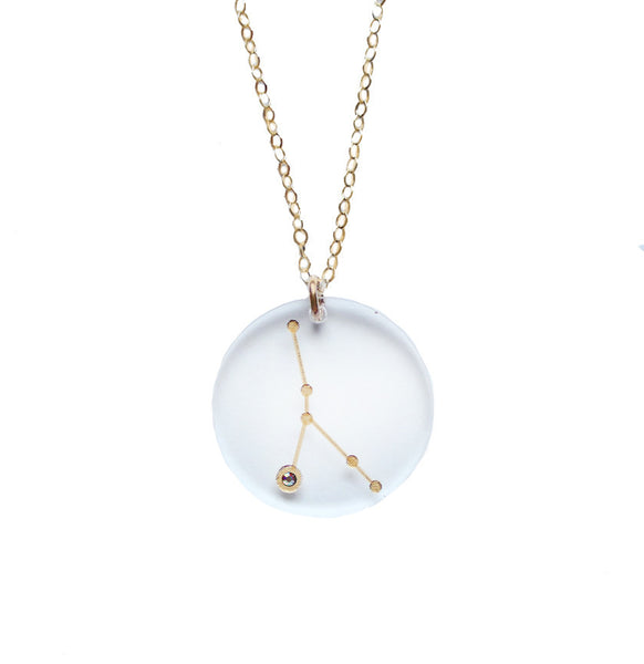 Moon and Lola - Acrylic Zodiac Constellation Necklace Crystal
