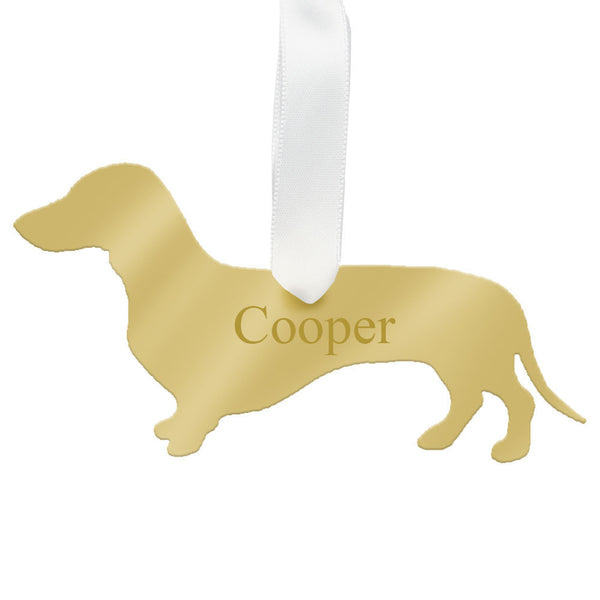 I found this at #moonandlola! - Personalized Dachshund Ornament Mirrored Gold