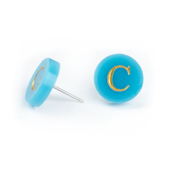 "Moon and Lola - Dalton Studs ""C"" in Turquoise side view"